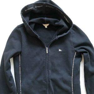BURBERRY LONDON Black Zip Up Hoodie w/ Novacheck